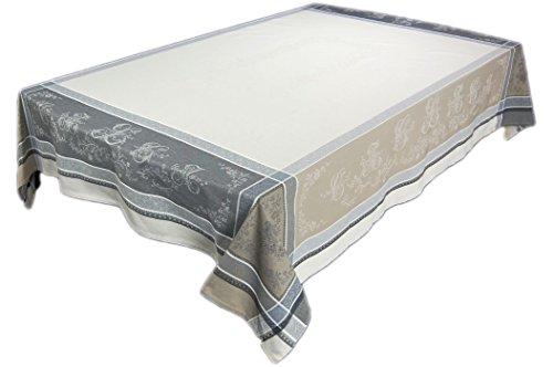 Elegante Jacquard Tischdecke Baumwolle 160x250 cm rechteckig Romantique Lin Baumwolldecke Teflon beschichtet Nizza Provence (160 x 250 cm)
