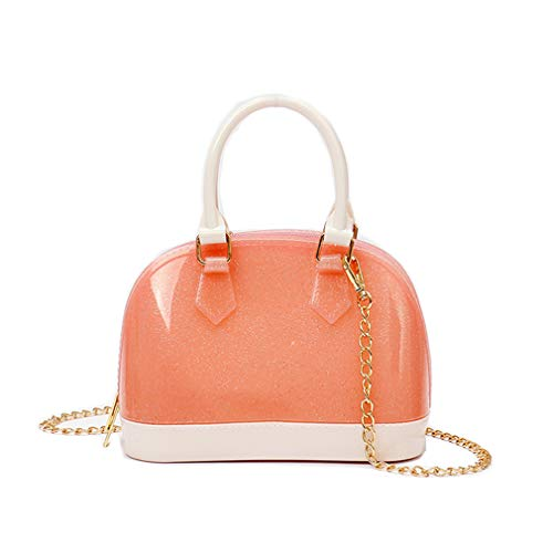 Women Candy Color Dome Satchel Shiny Jelly Bag Candy Color Crossbody Purse Shoulder Bag Top Handle Handbag for Pink Size: One Size