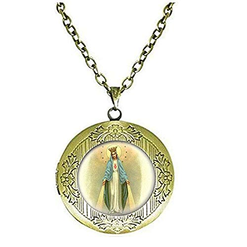 Collar con medallón de Nuestra Señora de la Milagrosa Medalla Collar Virgen María Joyería de Cristal Foto Joyería