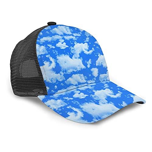 Gorra de béisbol unisex de rejilla impresa azul cielo Baiyun impresión verano ajustable empalme Hip Hop Cap sombrero de sol