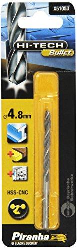 Piranha HSS-CNC Hi-Tech Bullet metaalboor, ook voor hout/PVC, 1,5 mm boordiameter, 40 mm totale lengte, 2 stuks 4.8mm