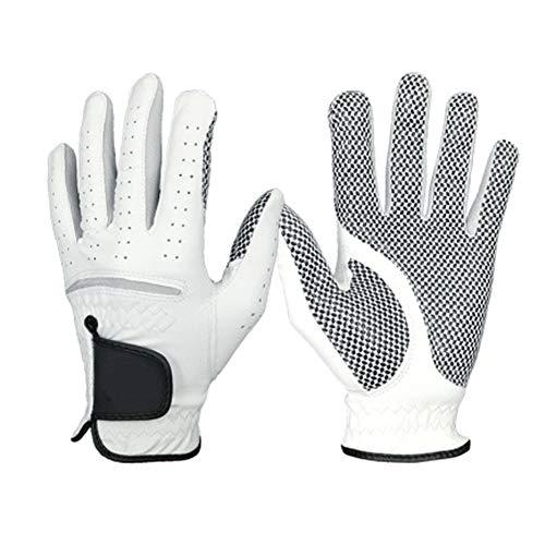 ZYQZYQ EIN Paar Premium PU Leder Herren Golfhandschuhe Links Rechts Allwettergriff Atmungsaktiv,White-26