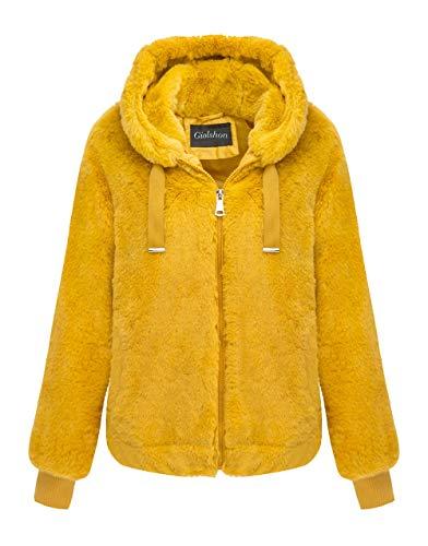 Giolshon Chaqueta de Piel sintética para Mujer, el Abrigo con Capucha Amarillo Grande