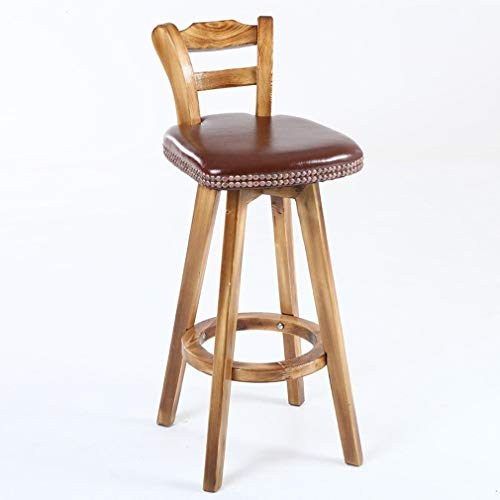 XNLIFE Retro barkruk wit/wijn rood/bruin/donkergroen, roterende ontbijtstoel met rugleuning, gecarboniseerd hout, hoogwaardig PU lederen zitkussen Hoge stoel