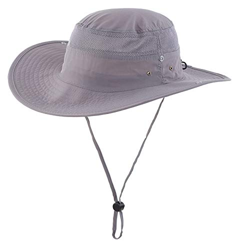 Connectyle Outdoor Mesh Sun Hat Camouflage Bucket Hats Fishing Hats with String (Dark Grey)