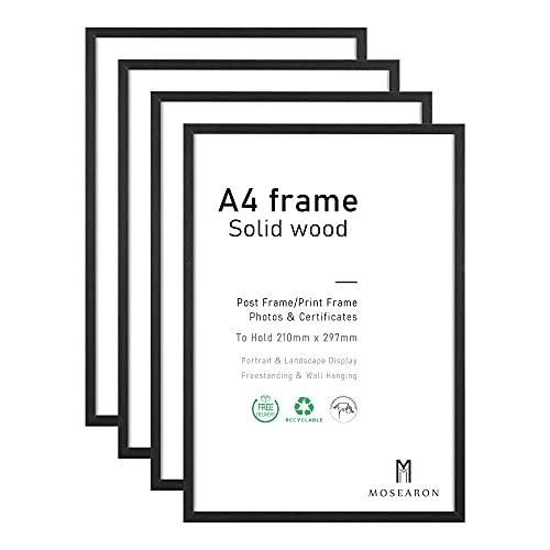 Cornice portafoto in legno A4, confezione da 4 pezzi, 21 x 30 cm, cornice per certificati, per montaggio a parete o da tavolo, set da 4
