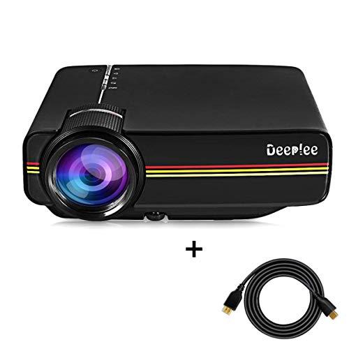 Mini Beamer Deeplee LED LCD Projektor 1200 Lumen HD für USB HDMI VGA AV SD Heimkino Videoprojektor für USB-Stick Festplatte Laptop iPhone Smartphone Video Spiele