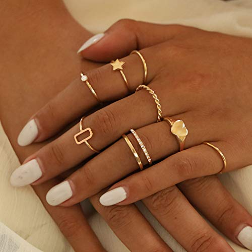 Mayelia Juego de anillos de oro bohemio, anillos de dedo de cristal para mujeres y niñas (paquete de 8)