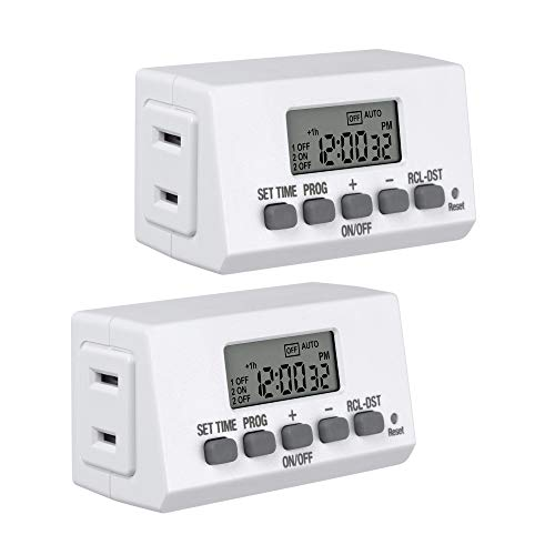 BN-LINK Mini Indoor Easy Set Stackable 24-Hour Digital Outlet Timer 2-Prong 2 On/Off Programs (2 Pack) Compact For lights lamps fans accurate 8A/1000W 1/3HP