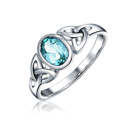 Blue Topaz Celtic Trinity Knot Triquetra Ring For Women For Teen 1MM Band 925 Sterling Silver December Birthstone