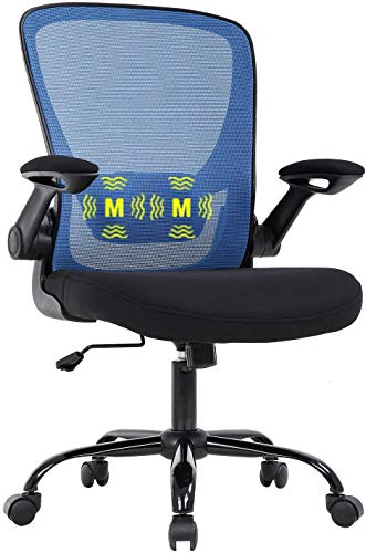 Office Chair Mesh Computer Chair Desk Chair Mid Back Ergonomic Executive Chair with Lumbar Massage Function Flip-up Arms Rolling Swivel Chair Adjustable Chair for Home Office, Adults