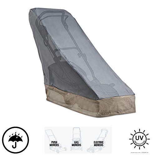 """VonHaus Premium Lawn Mower Cover 43"""" - Heavy Duty 600D Polyester Oxford Push Mower Protection - Waterproof, UV Protection, Universal Fit with Drawstrings for Gas or Electric Walk Behind Lawn Mowers"""