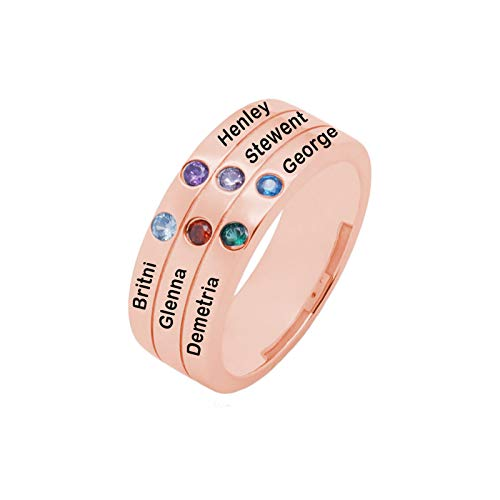 Anillo de nombre de bricolaje personalizado 6 anillos de piedra natal anillo de plata de ley 925 anillo familiar(Chapado en oro rosa de 18 k 16)