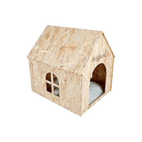 JTKDL Casa de perro impermeable duradero, Refugio perrito del animal doméstico con ventilador for mascotas Patio- cubierta de madera de pino de la perrera de la perrera cuatro estaciones cama del perr