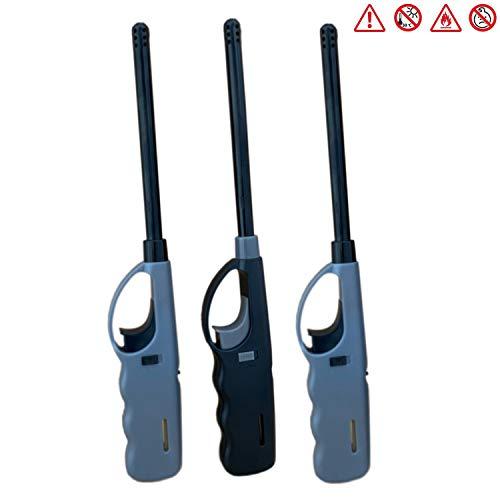 BENSON 3X BBQ XL Stabfeuerzeug mit Piezozündung, Gasfeuerzeug Nachfüllbar, Piezo Gas Feuerzeug mit Kindersicherung - 27cm Lang