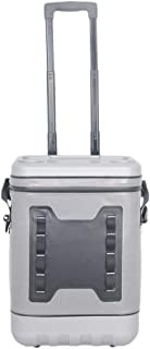 ArtST 45 Cans Soft Cooler Bag, 25L Leak-Proof Waterproof Portable Wheeled Insulated Coolers for Taking Lunch, Camping, Picnics, Sea Fishing, Trip to Beach (Light Gray)