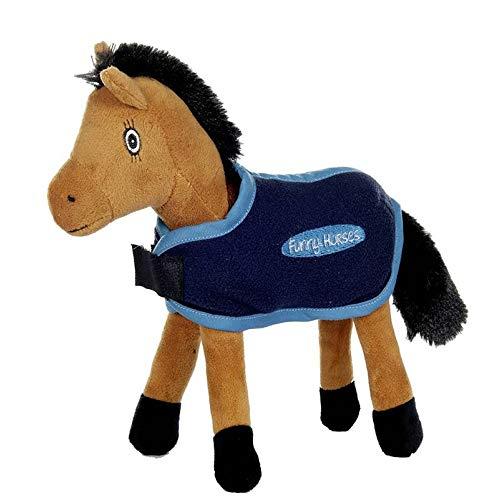 HKM Funny Horses Abschwitzdecke für Plüschpferd, Dunkelblau, st