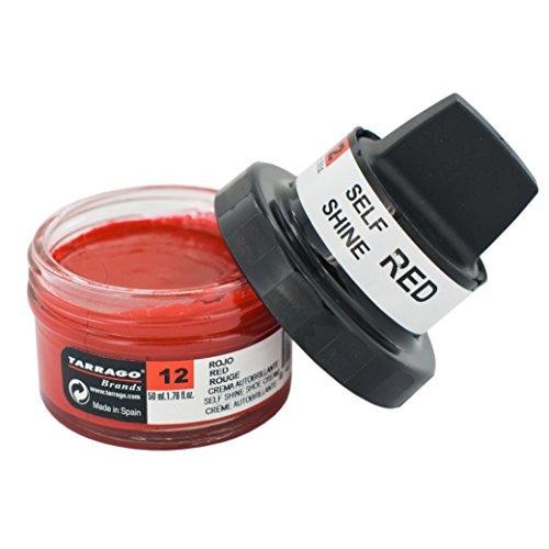 Tarrago   Self Shine Cream Kit 50 ml   Crema Nutritiva de Ceras Naturales Para Dar Brillo al Calzado de Piel, Cuero Liso, Natural o Sintético   Con Esponja Aplicadora (Rojo 12)