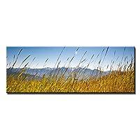 """大きいサイズの草の海と青い空キャンバス絵画美しい風景の木ポスターリビングルームの壁の芸術家の装飾23.6"""" x70.8""""(60x180cm)1pcsフレームなし"""