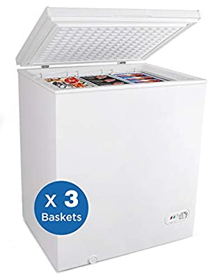 Northair Chest Freezer 5.0 Cubic Feet with 3 Removable Baskets Free-Standing Top Open Door Freezers -4? to 6.8? Adjustable Temperature/Front Defrost Water Drain/Energy-saving/UL Certified