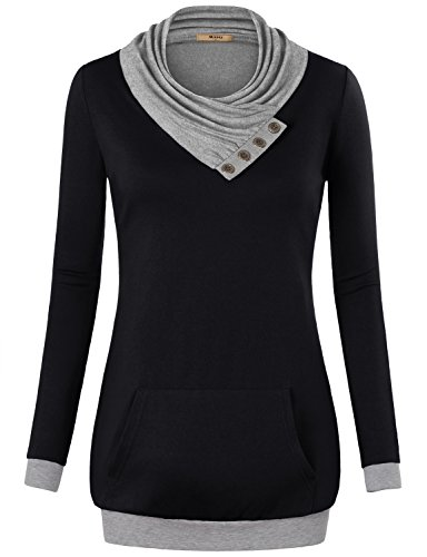 Miusey Boutique Clothing for Women, Ladies Long Sleeve Cowl Neck Sweaters Pullover Sweatshirt with Kangaroo Pocket Black Small
