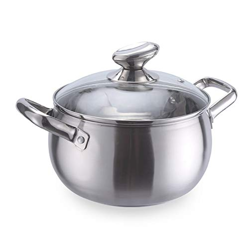 Stock Pot Thickened Stainless Steel Pearl Soup Soup Pot Tube Ear Double Handle Stainless Steel Pot (Color : 18cm)