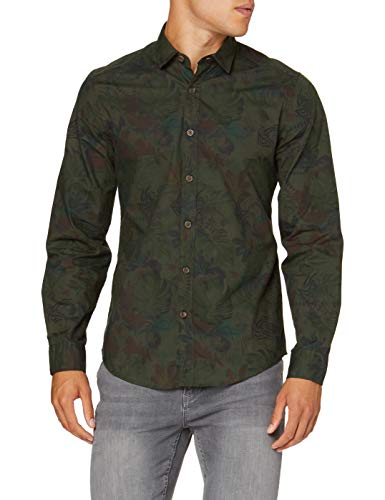 Springfield Camouflage Pirnt Digital Camisa Casual, Verde (Green 26), S (Tamaño del...
