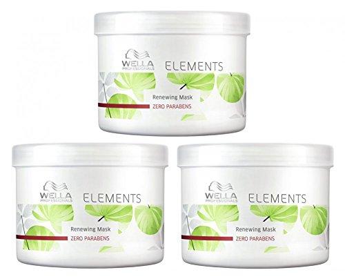Mascarilla Wella Elements 3 x 500 ml, tratamiento sin parabenos para cabello seco y quebradizo, cuidado profesional