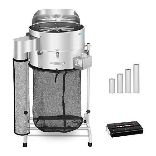 Hillvert Erntemaschine Trimmer mit Vakuumiergerät und Vakuumierbeutel HT-HOWSON-18TE Leaf Trimmer Set 3 (3 Klingen, Ø 42 cm, Vakuumiergeschwindigkeit 16 L/min, 4 Rollen für Beutel)