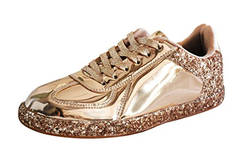 ROXY ROSE Womens Sneaker Flats Metallic Leather Glitter Fashion Sneakers Shoes Lace Up (Hologram Gold 6 B(M) US)