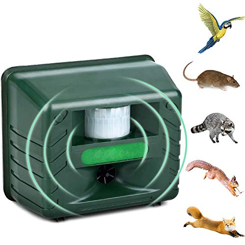 Insect Interference Ultrasonic Animal Repeller Battery Operated and AC Adapter Outdoor Waterproof for Scare Away Dog Cat Squirrel Rat Vole Raccoon Rodent Garden Utensils
