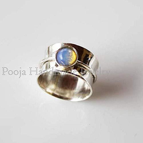 Anxiety Ring Fidget Ring 925 Silver Ring Thumb Ring Gift For Her Boho Ring Lapis Ring Gemstone Ring Handmade Ring Women Ring