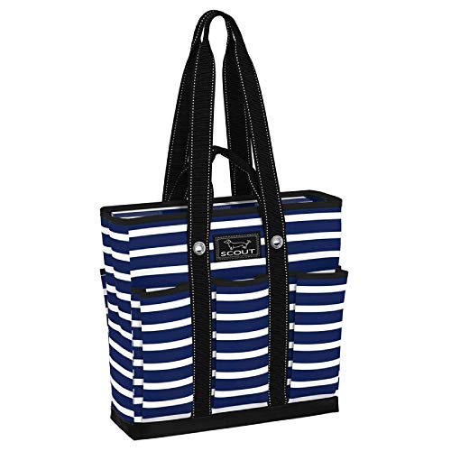 SCOUT Pocket Rocket Tote, Large Tote Bag with 6 Exterior Pockets & Interior Zippered Compartment, Utility Tote Bag for Teachers and Nurses in Nantucket Navy Pattern (Multiple Patterns Available)
