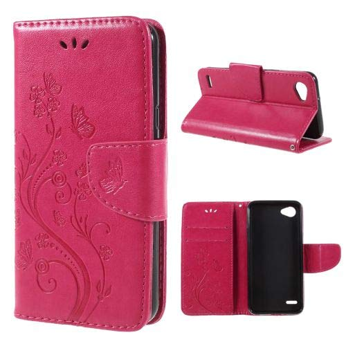 jbTec Handy Hülle Hülle Schmetterlinge passend für LG Q6 - Schutz Tasche Smartphone Flip Cover Phone Bag Klapp Klappbar, Farbe:Pink