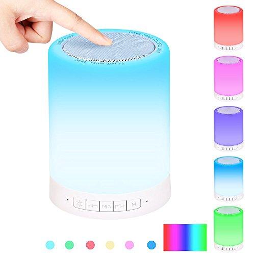 Motionjoy Lampada da Comodino, Wireless Altoparlante Bluetooth Portatili + Sensore Touch sulla lampada+ Luce Notturna + Cambiare Colore Lampada da Tavolo per Party, Camera da letto, Lettura, Outdoor