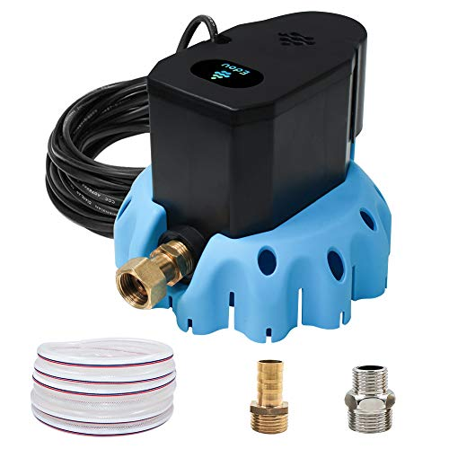 EDOU Automatic Swimming Pool Cover Pump 1200 GPH,1/6-HP,110V,Including 3 Adapters and 16' Drainage Hose Blue
