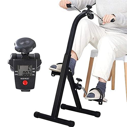 Leomix Ejercitador De Pedal Plegable con Pantalla Electrónica para Entrenamiento De Piernas Y Brazos, Máquina Ambulante Estacionaria Portátil Ejercitador De Bicicleta para Hombres Mayores, Mujeres