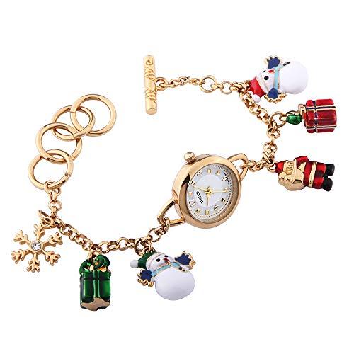 Time100 Orologio Bracciale da Donna Buon Regalo per Natale con Santa Claus Snowman#W50246L.02A(Oro)