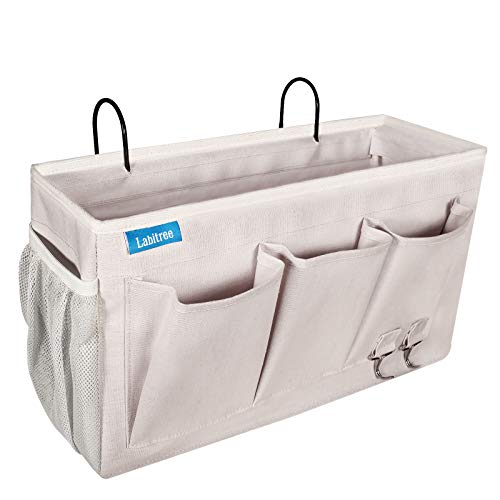 Labitree Bedside Caddy, Hanging Storage Organizer 6 Pockets Canvas Bag for Bunk, College Dorm Bed, Baby Bed Rails with Magazine Phone Tablet Water Bottle Holder, Grey