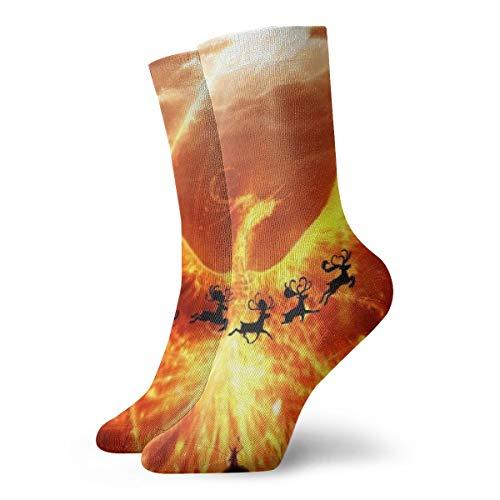 BJAMAJ Unisex Sokken Magic Flamingo Phoenix Behang Interessant Polyester Crew Sokken Volwassene Sokken Katoen