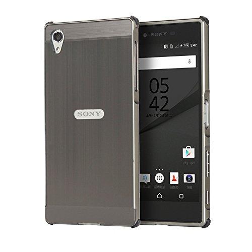 WIWJ Sony Xperia Z5 Premium Spiegel Hülle,Xperia Z5 Premium Mirror Cover, Handyhülle Spiegel Metall Case Cover 2 in 1 Aluminium Rahmen PC Bumper Case Schutzhülle für Sony Xperia Z5 Premium-Schwarz
