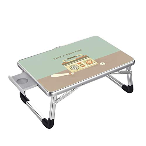 Overbed table Vouwen computer bureau lui desk draagbare desk bed tafeltje - groen patroon (60 x 40 cm, 70 X50CM) formaat facultatief (Size : 70X50CM)