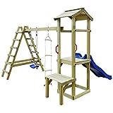 Festnight Spielturm mit Rutsche Leitern Schaukel | Garten Kletterturm | Spielplatz | Klettergerüst...