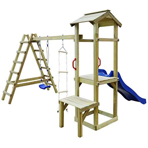 vidaXL Speelhuis met Glijbaan Ladders en Schommel Hout Speeltoestel Spelen