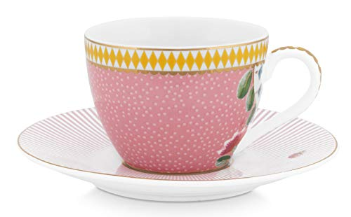 La Majorelle Espresso Cup & Saucer - Copa de café (120 ml), color rosa