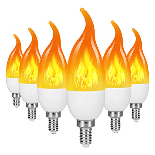 TOMTOO LED Flame Effect Light Bulb, 3 Modes Flame Lights Bulbs, E12 Base Fire Light Bulbs,...