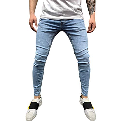 Kekebest Mens Pants,Trousers Legging Jeans 2019 Trendy Popular Autumn Fashion Slim Holes Pleated Pocket Jeanss Longs Casuals Plaid Original All