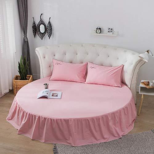 Falda de Cama de algodón, Cama Redonda, sábana, Funda Protectora de colchón, sábana de algodón Redonda, 2,0 Metros, 2,2 Metros, Ropa de Cama de jardín Una Falda de Cama Rosa 2,2 m de diámetro