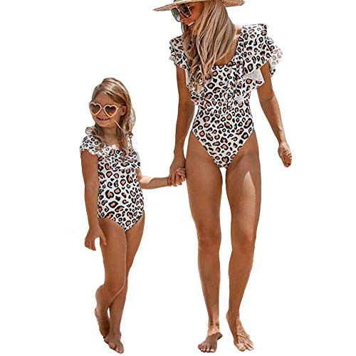 Mommy and Me Swimsuit One Piece Leopard Ruffle Bathing Suit...