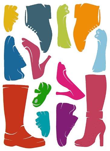 alles-meine.de GmbH 14 TLG. Set XL Wandsticker Schuhe Wandtattoo Stiefel Pumps High Heels Schuh Aufkleber Wandaufkleber - selbstklebend für Wohnzimmer und Kinderzimmer Deko Stick
